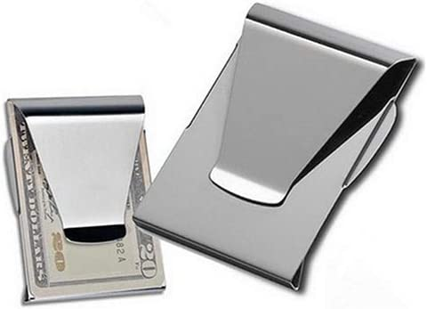 Stainless Steel ID Card Folder Double Sided Wallet Holder 1Pc HUAhuako Slim Money Clip