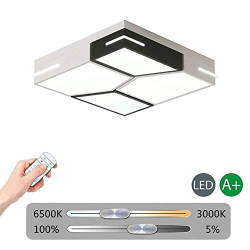 Witte Led Vierkante Plafondlamp Flush Mount, 45 w Dimbaar Eenvoudige Zwarte Plafond Lamp Ultra-Dunne Plafondlamp Fixture voor Woonkamer Slaapkamer Keuken Hallway Badkamer dimbaar (met Remote) 56x56x12cm