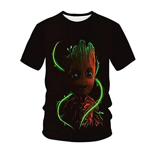 Aatensou Groot Trendy Design T-Shirt Männer 3D Lustiges Gedrucktes Guardians of The Galaxy T-Shirt Herren Sommer-beiläufigeT-Shirts (A1,XL)