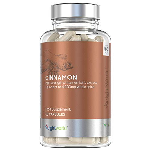 Canela de Ceilán Pura Dosis Potente de 4000mg | Antiinflamatorio Natural y Antioxidante con Vitaminas, Mejora Sistema Inmunológico, Suplemento Para Adelgazar, Para Veganos y Celiacos, 60 Cápsulas