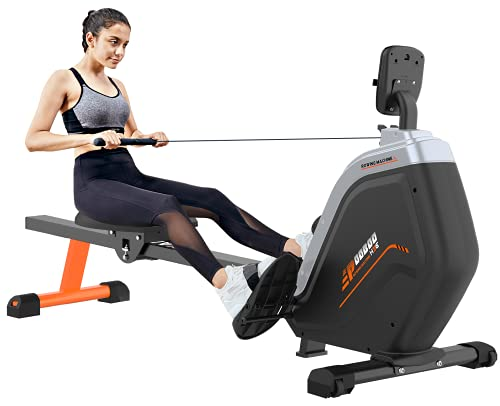 JKANGFIT Folding Rowing Machine - Rowing Machines for Home Use Indoor Magnetic Rower for Full Body with 16 Levels Resistance LCD Monitor Device Holder (Training-1)
