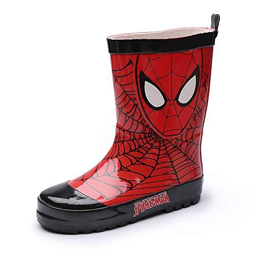 SPKIDS Kids Toddler Boys Girls Spider Man rain Boots Rubber Waterproof(8 M US Toddler,red)