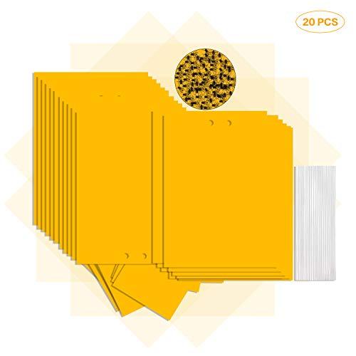 GiantGo 20 Stks Heldere Geel Sticky Vliegenvallen - Vliegenpapieren Stickers - Plant Fruit Vliegenvangers - Dual-Sided Sticky Traps - Vruchtvliegenval voor Vliegende Plant Insect - PerfectSizeforDailyUse (20X15cm)