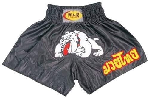 M.A.R International Ltd. Kickboxen & Thaiboxen Shorts Kickboxhose MMA Hosen Boxen Kleidung Muay Thai K1 Gear Polyester Satin Stoff schwarz Kinder Größe L/X S