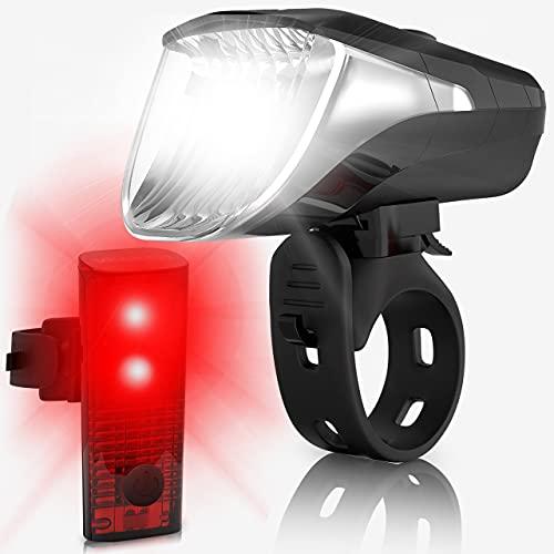 Velmia Fahrradlichter Set mit Bremsanzeige I LED Fahrradlicht Set StVZO zugelassen mit USB Akku-Betrieb und 8,5h Leuchtdauer I Fahrrad Licht aufladbar