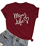 LOOKFACE Women Funny Graphic T Shirt Cute Short Sleeve Tees Tops Wine Red XX-Large
