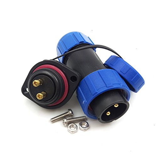 Crimp Waterproof Aviation Circular Connector HangTon HE21 2 Pin 30A 500V Connector Cable Male Plug Panel Mount Socket LED Power
