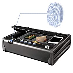 Home safe: Protect your valuables with this personal safe, complete with foam and a removable fleece-covered tray to prevent scratching; use to store jewelry, money, guns and more Quick acess: Fingerprint opening and resettable digital combination wi...