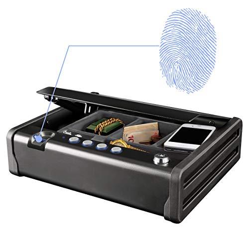 MASTER LOCK Caja Fuerte Compacta Biométrica [Apertura con Huella Dactilar y Combinación] MLD08EB - Ideal para objetos de valor, dispositivos electrónicos, pequeños, arma corta