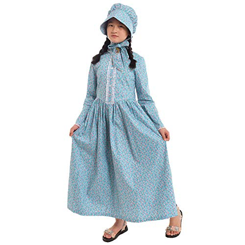GRACEART Pioneer Costume Colonial Prairie Dress for Girls 100% Cotton (Blue,size-14)