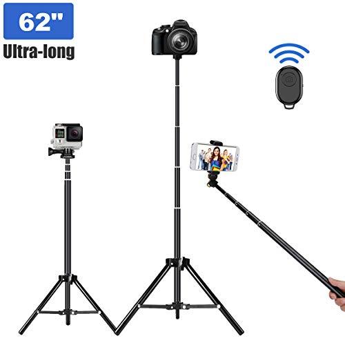 Selfie Stick Tripod, 62 inch Ultra-Long Extendable Selfie Stick Tripod Stand Aluminum...
