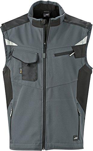 James & Nicholson FaS50845 Workwear Softshell Weste atmungsaktiv Herren, Größe:XXL, Farbe:Carbon/Black