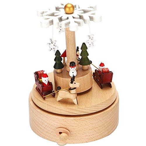 LONEEDY Holz-Spieluhr Weihnachten Schneeflocke Dekoration Elch Custom Spieluhr Jungen und Mädchen Rotation Handwerk (Schnee)