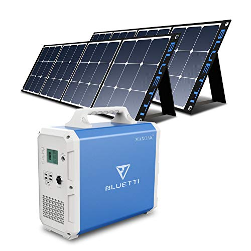 BLUETTI EB240 Portable Power Station 2400Wh with 2pcs Solar Panel 120W, Lithium Backup Battery Solar Generator for Home RV Emergency, 1000W AC Outlet , MPPT, Foldable Solar Panel Bundle, Indoor & Outdoor Power Alternative