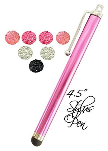 6 Seven Home Button Sticker Rhinestone Cute Colors + 4.5' Stylus Pen Fits Apple Ipod ,Iphone 3gs Iphone 4s 5s 6 Ipad Air Ipad Mini (A Hot Pink)