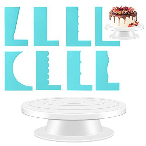 Aiooy Soporte de Torta Giratorio, Base Soporte Giratoria para Tartas, Herramienta de Decoración de Pastel, Placa de Artesanía Giratoria para Cupcake o Ponqués, Herramientas de Hornear