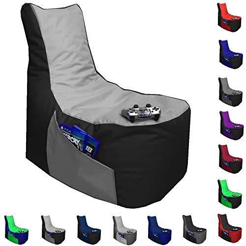 Sitzsack Big Gamer Lounge Ø 80cm Sessel mit EPS Sytropor Füllung In & Outdoor Erwachsene Riesensitzsack Sitzsäcke Sessel Kissen Sofa Sitzkissen Bodenkissen Gaming (Schwarz + Grau)