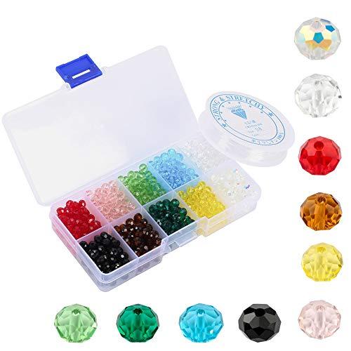 NACTECH 700 Stück Facettierte Glasperlen Rondelle Kügelchen 4mm Perlen 10 Farben Kristall Perlen mit Elastische Schnur und Aufbewahrungsbox für DIY Schmuck Armbänder Herstellung Basteln