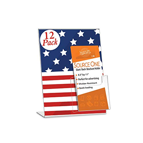 SOURCEONE.ORG Deluxe Clear Acrylic Slant Back Sign Holder Premium 8.5 x 11 Inches with Trifold Brochure Pocket
