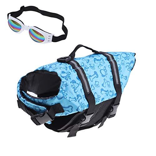 POPETPOP Best Dog Life Jacket Size Adjustable Preserver Life Vest buoyant Lifesaver with pet Glasses Blue Size L