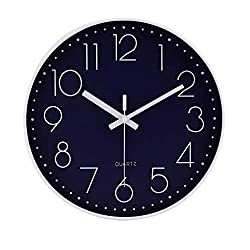 jomparis 12 Non-Ticking Wall Clock Silent Battery Operated Round Wall Clock Modern Simple Style Decro Clock Navy Blue Color