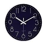 Reloj de Pared Moderno,Grandes Decorativos Silencioso Interior Reloj de Cuarzo de Cuarzo Redondo No-Ticking para Sala de Estar,Azul Profundo
