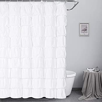 Ameritex Ruffle Shower Curtain Home Decor | Soft Polyester Decorative Bathroom Accessories Great for Showers & Bathtubs  72  x 72  White