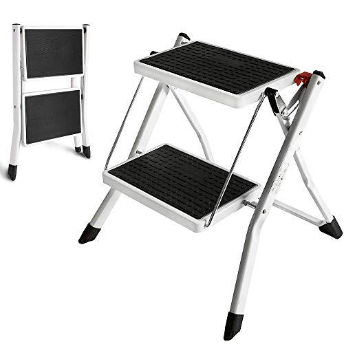 JAOSY Vouwtrap Kruk Zwaar Duty Steel (houdt tot 150 kg) Draagbare 2-staps Ladder met Anti Slip Geribbelde Stappen Mini Lichtgewicht Stepkruk voor Home Office Keuken Garage