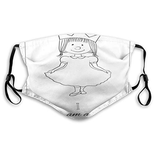 NANITHG Gesichtsbedeckung,Kinder Cartoon niedlichen kleinen Mädchen Fee Kleid mit einem Crown Childish Doodle,Unisex Wiederverwendbar Winddicht Staubschutz Mund Bandanas Outdoor Mit 2 Filtern