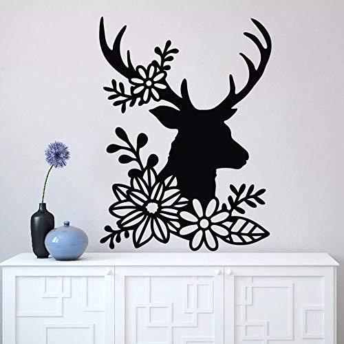 WERWN Ciervo con Cuernos Abstracto con Vinilo de Pared Floral para decoración de Arte de Pared de Sala de Estar