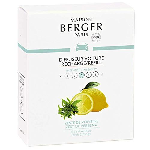 MAISON BERGER Paris - Recharges Diffuseur Voiture - Parfum Zestes de Verveine