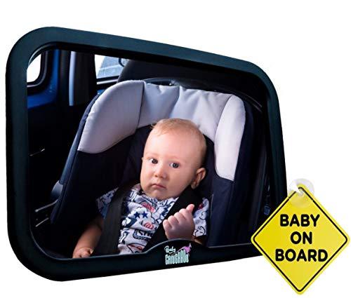 BabyCANGAROO Baby Auto Spiegel voor Achterbank, Veiligste Onbreekbare Baby Spiegel voor Auto, Achteraanzicht Baby Auto Stoel Spiegel om te zien Achterzijde Zuigelingen en Baby's (Zwart Frame)