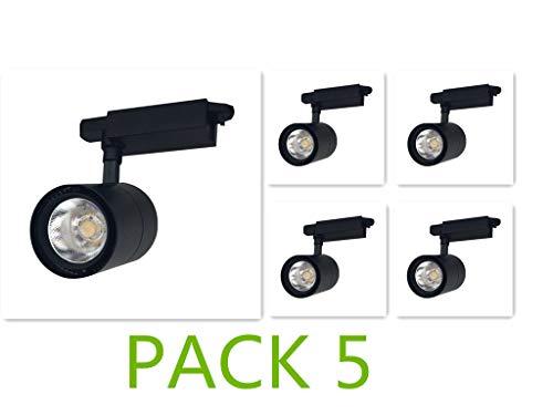 Foco de Carril LED COB 30W G8005 (Pack 5) Negro Monofásico Luz Neutra 4000k-4500k Alta Luminosidad 3000lm Foco Led de Techo, Iluminacion de Comecial ONSSI LED