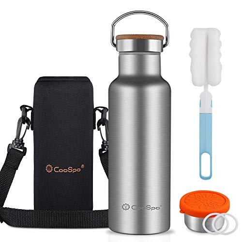 CooSpo Edelstahl Trinkflasche 500ml, 18/8 Austenitischem Edelstahl Wasserflasche, Thermoskanne Doppelwandig Vakuum Isolierte Trinkflasche, BPA Frei Thermosflasche