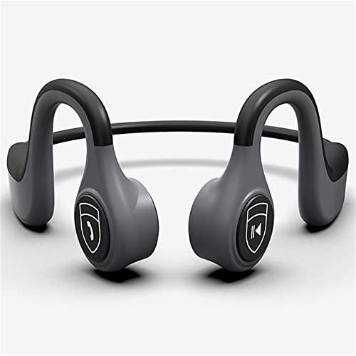 XJPB Auriculares de conducción ósea Auriculares para Deportes Bluetooth inalámbrico a Prueba de Agua con micrófono Manos Libres para Correr Ciclismo de Ciclismo,Gris