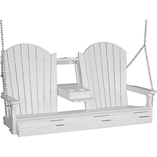 LuxCraft Adirondack 5ft. Recycled Plastic Porch Swing with Flip Down Center Console - Lead Time 14 Business Days
