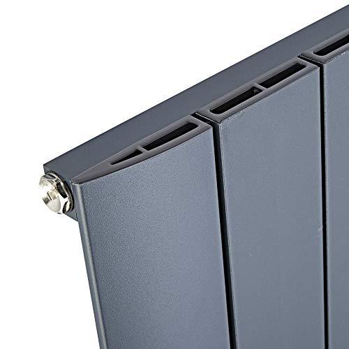 Hudson Reed - Design Heizkörper Vertikal Einlagig Mittelanschluss - Aluminium Anthrazit 1600mm x 280mm 1021W - Aurora