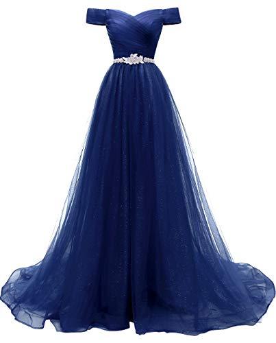 RJOAMEUDRESS Damen Schulterfrei Abendkleider Tüll Prinzessin Lange Party Ballkleider mit Gürtel 2018 Blau Größe 32