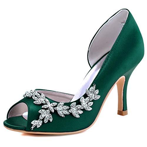 ElegantPark HP1542 Women Peep Toe Rhinestones...