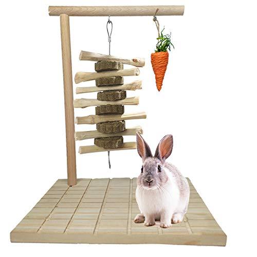 Kathson Bunny Chew Toys para moler dientes, madera de conejo, almohadilla giratoria para mascotas, juguete para chinchilla, cobayas, otros roedores, mascotas, juguetes para conejos