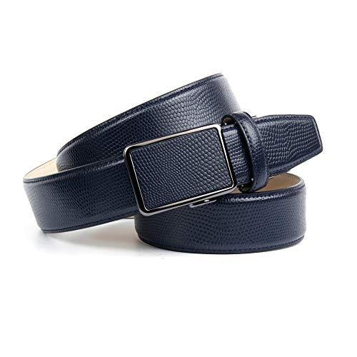 Anthoni Crown Ledergürtel Cintura, Blu Scuro, 85 cm Uomo