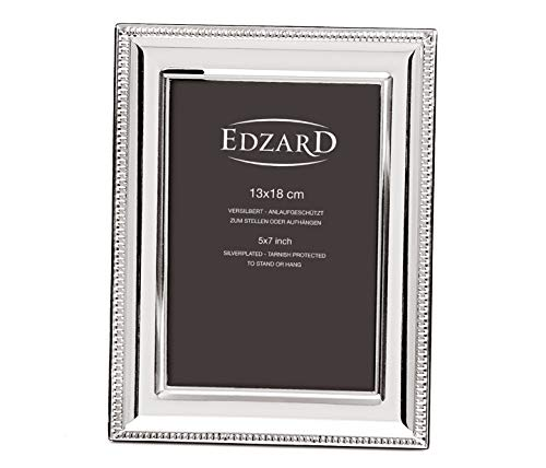 EDZARD Fotorahmen Novara für Foto 13 x 18 cm, edel versilbert, anlaufgeschützt, mit 2 Aufhängern
