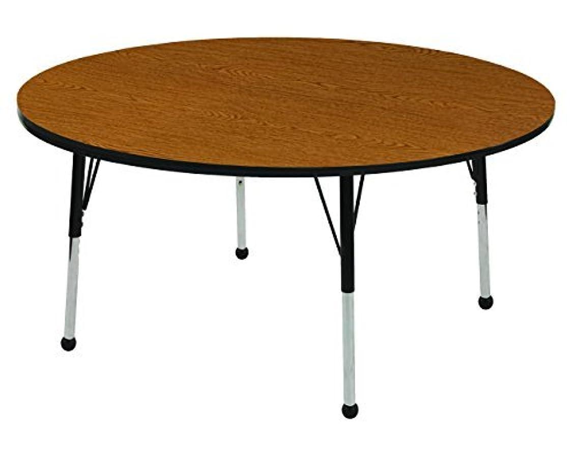 スクランブル年金受給者符号ECR4Kids 48 Round Activity Table Oak Top/Black Edge Standard Legs/Ball Glides Four 16 Navy School Stack Chairs [並行輸入品]