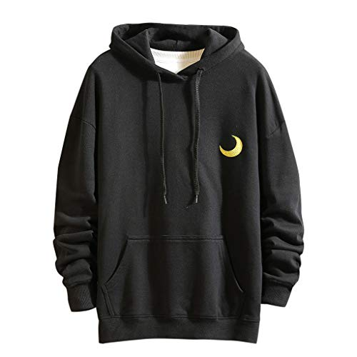 Best Deals! Men Hoodies Pullover Big and Tall Moon Printed Solid Lightweight Comfort Drawstring Hood...