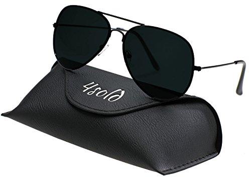4sold Herren Damen Kinder Sonnenbrille Polarisierte UV 400 Schutz Metall Box (Kinder, Schwarz Schwarz)