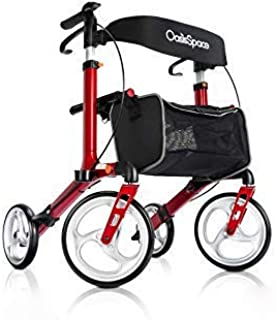 Deluxe Aluminum Rollator Walker, with 10'' Wheels Compact Folding Design Lightweight Baking Finish by OasisSpace (Red)
