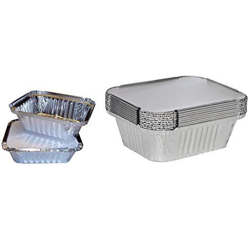 Moent 50 X Silberfolie Lebensmittelschalen/Geschirr/Behälter & Deckel, Set Backblechschachteln