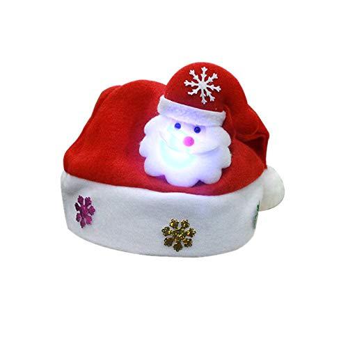 AimdonR Cappelli Natalizi per Bambini e Adulti, Cappello con Decorazione Natalizia con luci Colorate a LED Cappelli Invernali Cappello da Babbo Natale Cappello da Babbo Natale