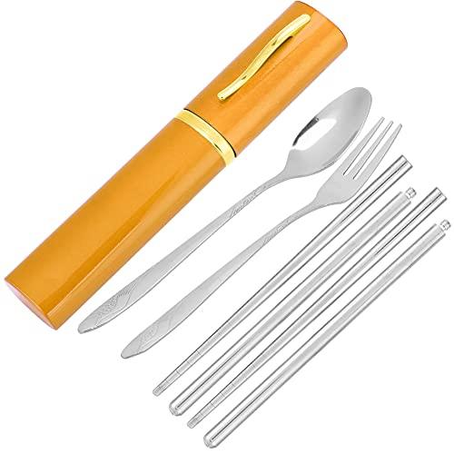 Eulbevoli Bolsa organizadora Durable portátil Cuchara Tenedor Palillos Juego de vajilla para Acampar para el Almuerzo para Viajar(Golden)