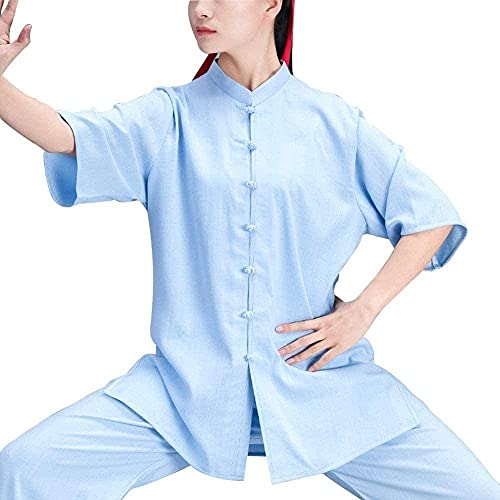 KUXUAN Ropa de Tai Chi Ropa Informal para El Hogar de Las Mujeres Estilo Chino Primavera y Verano Ropa China Suelta Artes Wing Chun Shaolin Traje de Kung Fu,Blue-Small